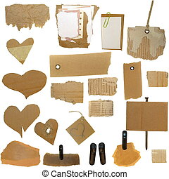 Set Cardboard Scraps, blank tag, paper notes, isolated on...