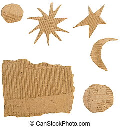 Set Cardboard Scraps isolated on white background stars,...