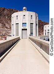 Hoover Dam and Water Intake Towers - Water intake towers at...