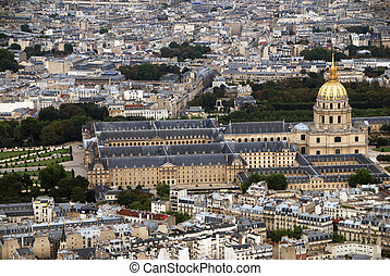 Invalides - Dome of Les Invalides in Paris from above,...