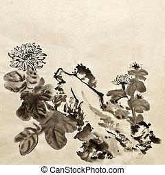 Chinese traditional painting of garden with chrysanthemum...