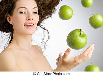 green apple - a girl with a ripe green apple