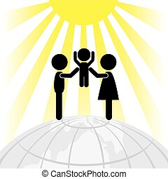 Silhouette of family on a round Ear