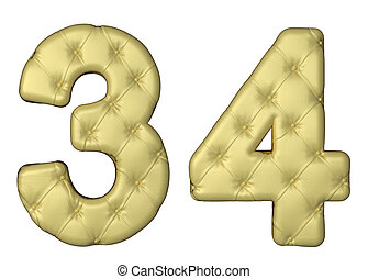 Luxury beige leather font 3 4 numerals