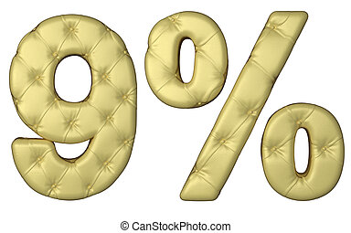 Luxury beige leather font 9 numeral and percent