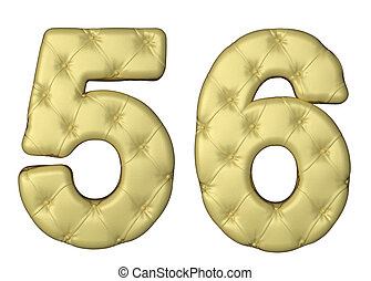 Luxury beige leather font 5 6 numerals