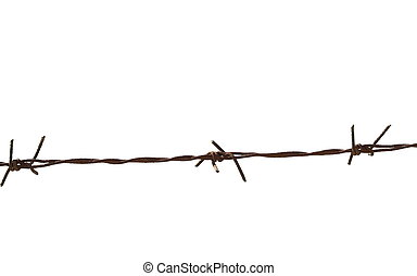 old security barbed wire fence isolated on white for...