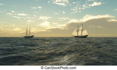 Schooners at Sea