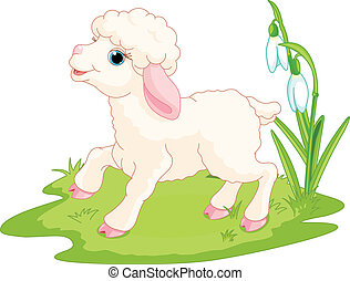 Easter lamb - Spring background with Easter lamb and flowers...