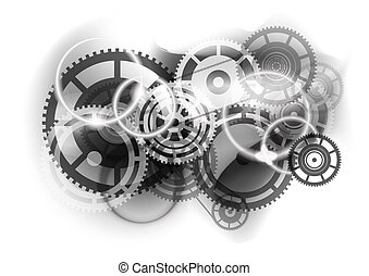 cogwheel industry - Grey abstract background with cogwheel