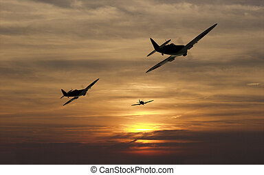 Turning For Home - A Spitfire squadron turns for home at the...