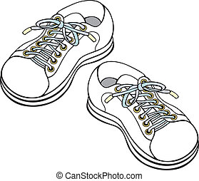 Childrens sneakers - Handdrawn vector illustration of...