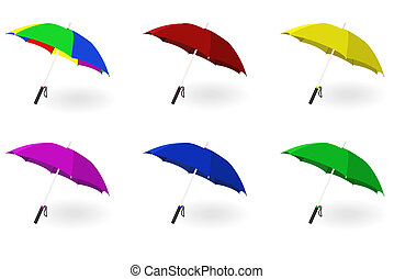 Set of multicoloured umbrellas on a white background