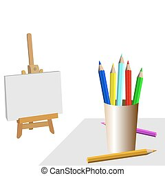 Room of the artist with pencils and easel