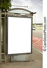 street ad - empty white space on street billboard, focus...