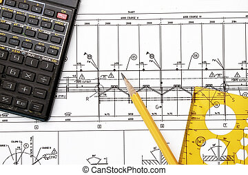 Engineering Tools - Blueprint, calculator, pencil and...