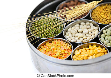 Box of Indian food grains - Healthy colorful raw food grains...