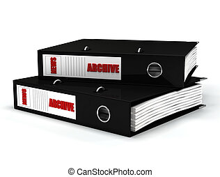 contained journalistic file in black  ring binders