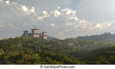 Oriental Fantasy Castle or Temple - Oriental Chinese or...