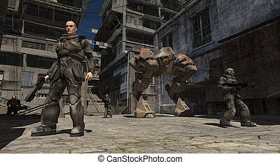 Space Marine Urban Combat Patrol, 3d digitally rendered...