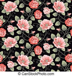 Roses seamless pattern - Roses vector background, repeating...