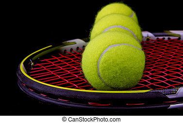 Tennis Racket and Balls - New Tennis Balls shot on Used...