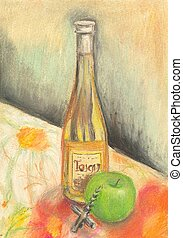 Hand painted bottle of wine - Hand painted pastel bottle of...