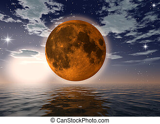 orange moon over the ocean-digital artwork