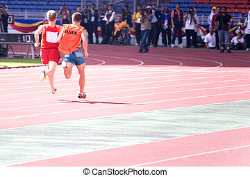 Mens 100 Meters for Blind Persons - A blind athlete...