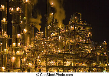 Oil Refinery at Night - Malaysian oil refinery at night.