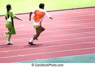 Womens 100 Meters for Blind Person - A blind athlete...