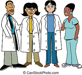 Doctors and Nurses - Doctors and nurses of various ethnic...