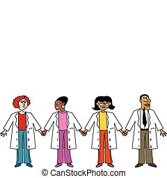 Doctors and Nurses holding hands