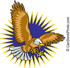 Eagle mascot with wings spread flying through the air with...