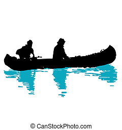 canoeing on the water logo, brand, branding