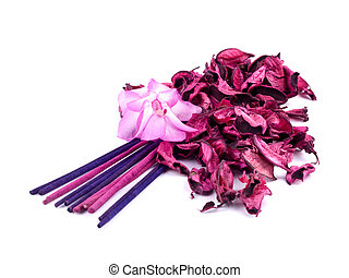 Pink potpourri with incenses and pink cactus flower