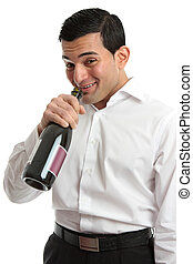 Alcohol abuse man drinking from wine bottle