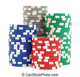 Stacks of poker chips on white background