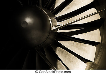 jet engine turbine blades abstrac with strong shadows