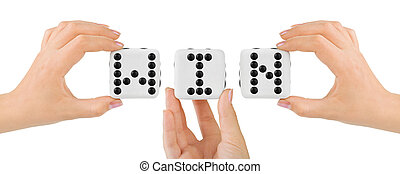 Hands and dices Win isolated on white background