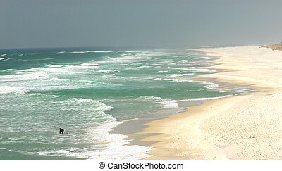 Lone surfer on a beach in Pensacola, Florida - A lone surfer...