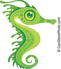 Leafy Sea Dragon Seahorse - Vector cartoon illustration of a...