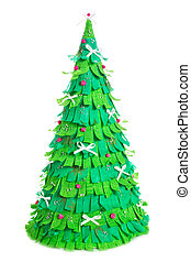 handmade paper christmas tree isolated on white background
