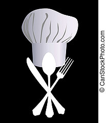 chef's hat with a knife, spoon and fork on a black...