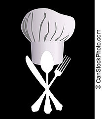 chefs hat with a knife, spoon and fork on a black background...