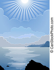 vector sunny day at sea - vector Summer seascape with the...