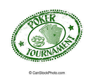 Poker tournament stamp - Green grunge rubber stamp with...