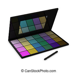 eyeshadow box - One eyeshadow box with many colors and a...