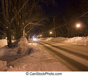 winter road - Snow covered road in Canada at night