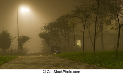 Foggy whether at night small house